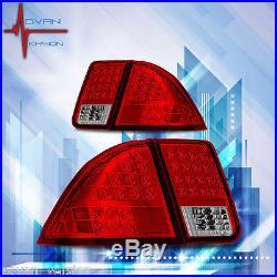 01-03 Honda Civic 4DR LED Tail Lights Chrome Housing Red Lens Lamps PAIR