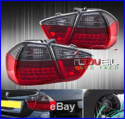 05 06 07 Bmw 3-Series Sedan E90 Led Tail Lights Blk/Red 325I 330I 4Dr