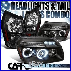 05-07 Dodge Magnum Black Twin Halo LED DRL Projector Headlights+Rear Tail Lamps