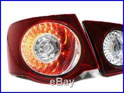06-09 Vw Jetta Mk5 Euro Led Taillights Dark Red / Clear