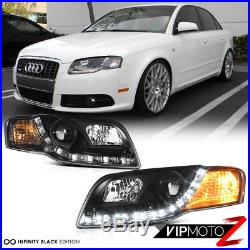 06-2008 Audi A4 B7 Black Halo Projector LED DRL Headlight+COOLEST SMD Tail Light