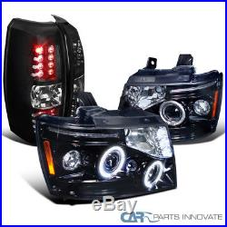 07-12 Chevy Avalanche Smoke LED Halo Projector Headlights+Black LED Tail Lights