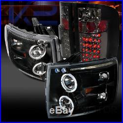 07-14 Chevy Silverado 1500 Black Halo Projector Headlights+Smoke LED Tail Lamps