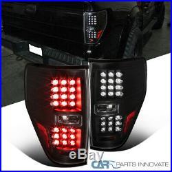 09-14 Ford F150 F-150 Pickup Black LED Tail Lights Rear Brake Lamps Left+Right