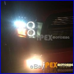 09-16 Dodge Ram 1500 2500 Halo Projector LED Black Head Light + Dark Smoke Tail
