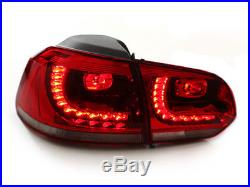 10-14 VW MK6 Golf/GTI R Euro LED Taillights With Adapter Harness Red Cherry