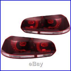 10-14 VW MK6 Golf/GTI R LED Taillights Error Free Plug and Play- Dark Cherry
