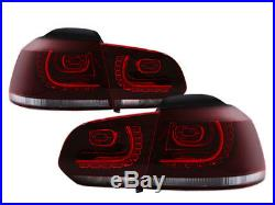 10-14 VW MK6 Golf/GTI R Style Euro LED Taillights with Rear Fog Dark Cherry Red