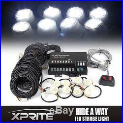 160W 8 LED Bulbs Hide A Way Emergency Hazard Flash Strobe Light kit White