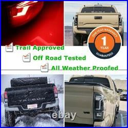 16-21 For Toyota Tacoma Black Clear DRL LED Tube Tail Lights Rear Brake Lamps