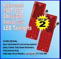 1967-1972 Chevy C10 GMC Pickup Truck Red LED Fleetside Taillights, Pair 1157