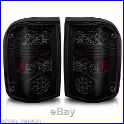 1993-2000 Ford Ranger Tail Lights LED Black Housing Smoke Lens Rear Lamps PAIR