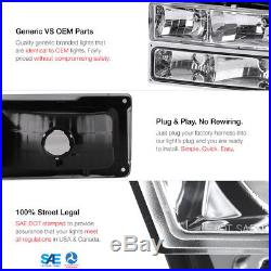 1994-1998 Chevy Suburban 1500 2500 Red LED Brake Lamp Chrome Headlights Headlamp