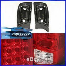 1994-2002 Dodge Ram 1500 2500 3500 Chrome Housing Led Red Lens Tail Lights