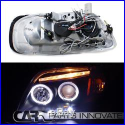 1997-2002 Ford Expedition Black Halo LED Projector Headlights+Tail Lamp