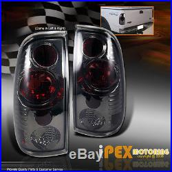 1997-2003 Ford F150 Dual Halo LED Projector Black Headlights + Smoke Tail Lights