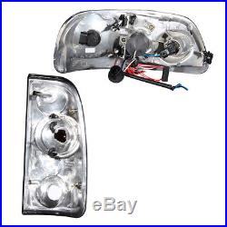 1997-2003 Ford F-150 LED Halo Ring Projector Black Headlights+Smoke Tail lights