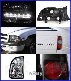1997-2004 Dodge Dakota LED Headlights+Tail Lights Brake Lamp Black