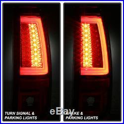 1999-2002 Chevy Silverado 99-06 GMC Sierra Red Smoke LED Tube Tail Lights Lamps