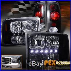 1999-2004 Ford F250/F350 SUPER-DUTY Bright LED Headlights With Tail Lights Black