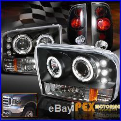 1999-2004 Ford F250/F350 SUPER-DUTY Halo Projector LED Head Light + Black Tail