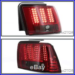 1999-2004 Ford Mustang Red/Smoke Sequential LED Tail Lights Brake Lamps Pair