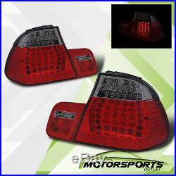 2002 2003 2004 2005 BMW E46 3 Series Sedan Red Smoke FULL LED Tail Lights Pair