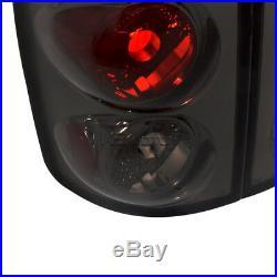 2002-2005 Dodge Ram Black LED Halo Projector Headlights+Smoke Tail Brake Lights
