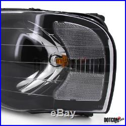 2002-2005 RAM 1500 2500 3500 Black Pickup Headlights+LED Tail Brake Lamps Pair