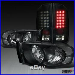 2002-2005 RAM 1500 2500 3500 Headlights+Glossy Black LED Tail Lights Brake Lamps