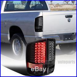 2002-2006 Dodge Ram 1500 2500 3500 Black Clear Lens LED Tail Brake Lights