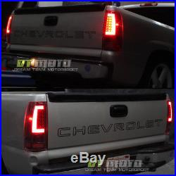 2003 2004 2005 2006 Chevy Silverado Red LED Tail Lights with LED Bar Brake Lamps