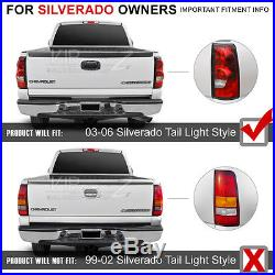 2003-2006 Chevy Silverado 1500 2500 3500 C-SHAPE Black LED Rear Tail Lights Lamp