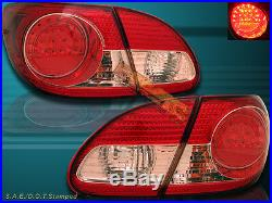 2003-2008 Toyota Corolla Led Red Clear Tail Lights 2004 2005 2006 2007