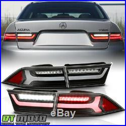 2004-2008 Acura TSX Black Full LED Tube Tail Lights Brake Lamps 4pcs Left+Right