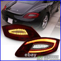 2005-2008 Porsche Boxster 987 06-08 Cayman Red Smoke LED Tube Tail Lights Lamps
