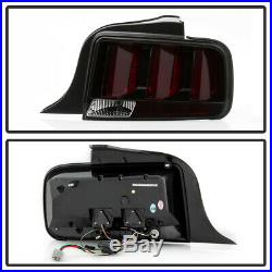2005-2009 Ford Mustang LED Tube Sequential Turn Tail Lights Lamps Smoked with Red