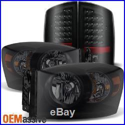 2007-2008 Dodge Ram 1500 07-09 2500 3500 Headlights+LED Tail Lights Black Smoked