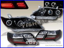 2007-2009 Toyota Camry Dual Ccfl Halo Projector Headlights Blk + Led Tail Lights
