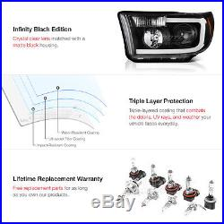 2007-2013 Toyota Tundra Smoked Led Tube Tail Raven Black Projector Head Lights