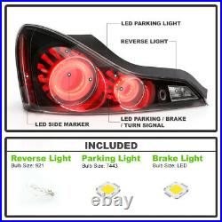 2008-2015 G37 / Q60 Coupe Black 3D LED Tube Tail Lights Brake Lamps Left+Right