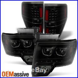 2009-14 F150 Pickup Exclusive LED Halo Black Smoked Headlights+LED Tail Lights