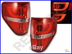 2009-2014 Ford F150 F-150 Pickup G2 Red LED Tube Tail Lights Lamps RH & LH