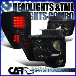 2009-2014 Ford F150 F-150 Pickup Smoke Headlights+Glossy Black LED Tail Lamps