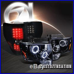 2009-2014 Ford F150 Glossy Black/Smoke Projector Halo LED Headlight+Tail Light