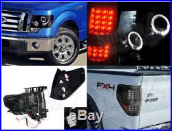2009-2014 Ford F150 Halo Projector Headlights+LED Tail Lights Black