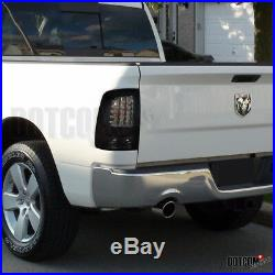 2009-2018 Dodge RAM 1500 Smoke Headlights+Glossy Black LED Rear Tail Brake Lamps