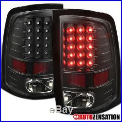 2009-2018 Dodge Ram 1500 2500 3500 Black Pair LED Tail Lights Rear Brake Lamps