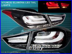 2011 2013 ELANTRA LED TAIL LIGHTS BLACK 4PCS (OUTER PCS With BULB) BMW STYLE