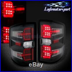 2014 2015 2016 2017 Chevy Silverado 1500/2500/3500 LED Black Brake Tail Lights